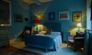 the 'Napoleon blue suite', lit by 1940s Murano glass lamps