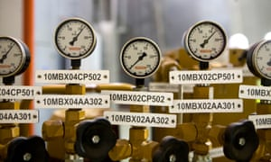 Pressure gauges in the main turbine hall at Dong Energy's gas-fired Severn power station in Newport, south Wales.