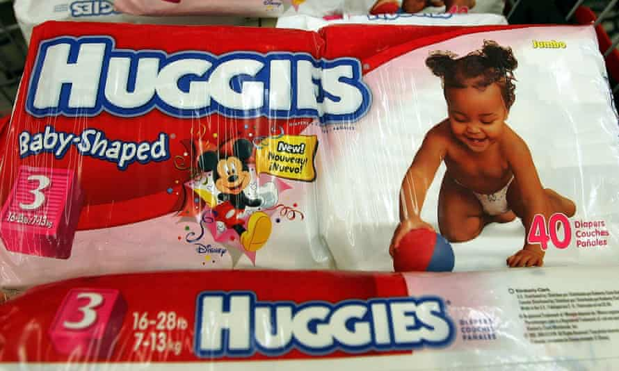 Huggies nappies in shopping trolley