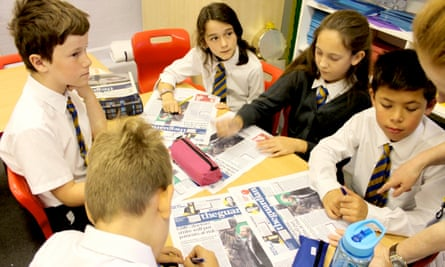 Primary pupils using Guardian Education Centre resources