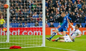 Leicester City's Jamie Vardy scores the winner against Crystal Palace at the King Power stadium.