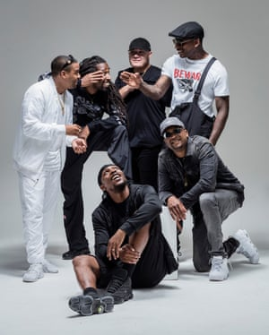 BB Kings … Boy Better Know, wondering how long they have to sit there before they can tuck into JME's croissants. Photograph: David Levene for the Guardian