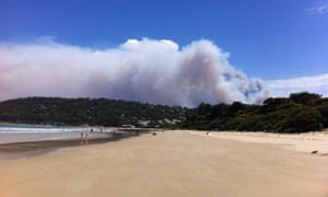 Smoke rising from a fast-moving bushfire near the Great Ocean Road in Victoria on Christmas Day.