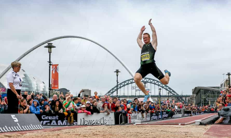 Greg Rutherford competes in his last long jump competition as part of the Great City Games on the banks of the Tyne.