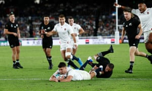 England's Ben Youngs scores a try that is later disallowed after a TMO review.