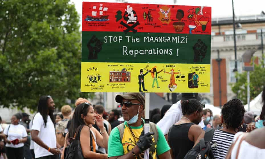 The Afrikan Emancipation Day Reparations march in London, earlier this year.