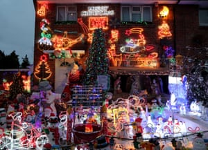 The Farnes family home in Hove, East Sussex. The property is decorated each Christmas with more than 30,000 lights to raise money for charity