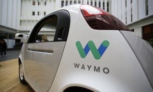 The Waymo driverless car displayed during a Google event in San Francisco in 2016.