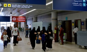 Saudi women arriving at Abha airport in the south-west of the country.