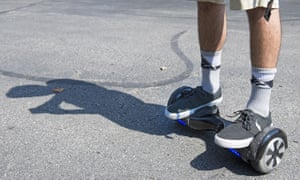 A man on a 'swegway' or hoverboard