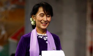 Aung San Suu Kyi delivers her peace prize acceptance speech in Oslo in 2012 – 21 years after her house arrest in Myanmar prevented her from collecting her award in 1991.
