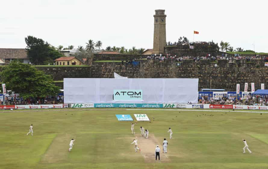 Dinesh Chandimal is bowled by Jack Leach.