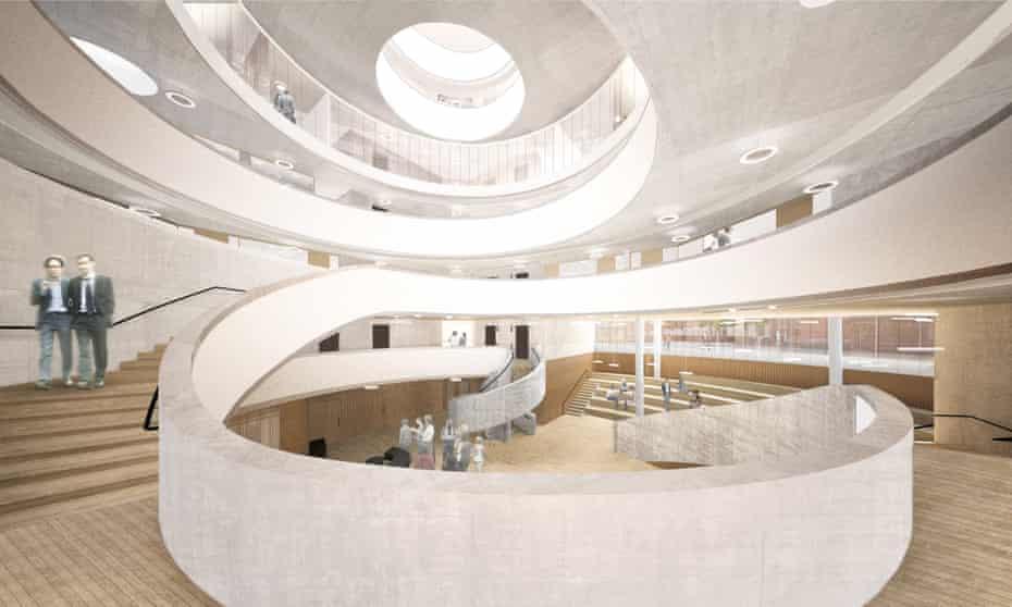 The latest interior rendering of the Blavatnik School of Government, Oxford. © Herzog & de Meuron