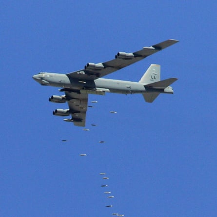 Bombs away ... a B-52 drops its payload over Nevada.