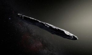 This artist's impression shows the first-known interstellar object to visit the solar system, 'Oumuamua, which was discovered in 2017. Photograph: European Southern Observatory/M Kornmesser/Reuters