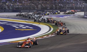 Cars take the bend at the Singapore Formula One Grand Prix