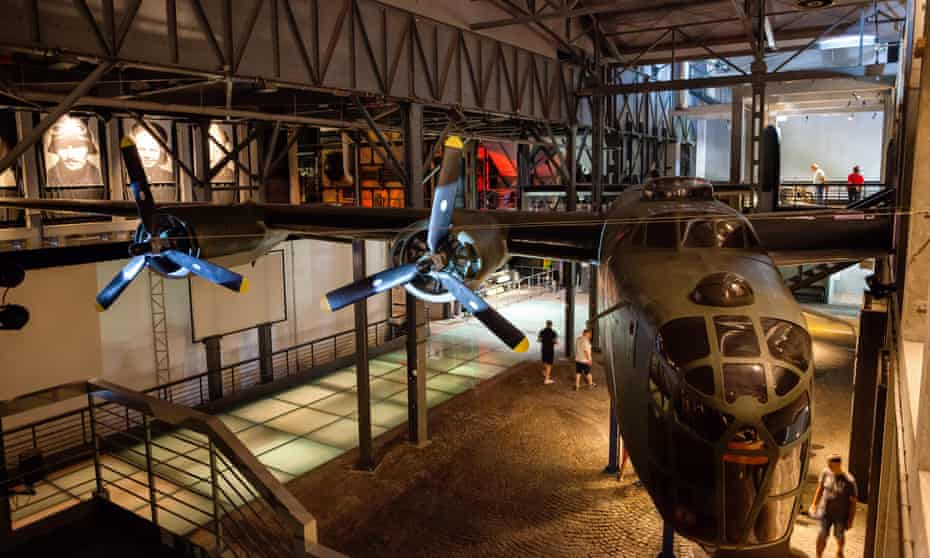 A B-24 Liberator aircraft on display at the Warsaw Rising Museum, a former power station for trams.