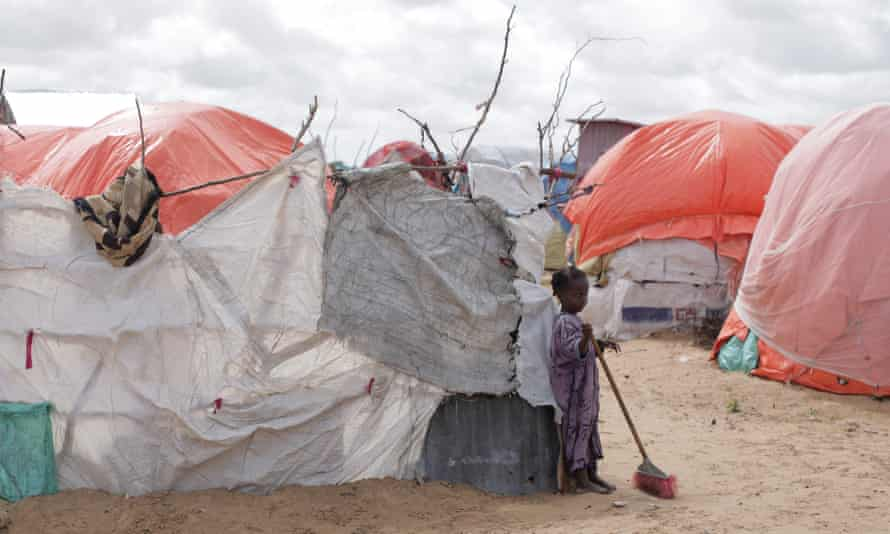 A camp for internally displaced people, Somalia. The country is the only one of the 135 ranked to fall into the extremely 'alarming' category.