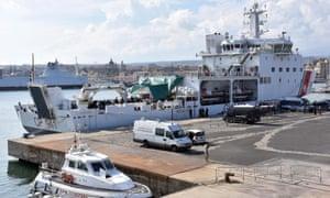 The Italian coastguard ship barred from disembarking migrants in Catania in August 2018.