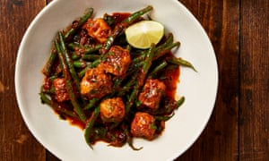 Yotam Ottolenghi's tofu and french beans with chraimeh sauce.