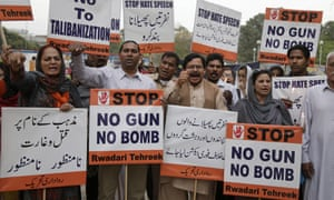 Pakistani civil society activists rally to condemn the last Sunday's suicide bombing.