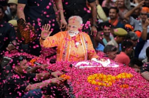 Varanasi, India Prime minister and leader of the Bharatiya Janata party, Narendra Modi campaigns in Varanasi
