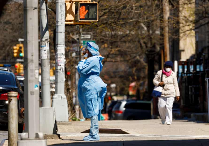 A healthcare worker in Brooklyn. Cuomo said the New York healthcare system was operating at full stretch but did not for now need any more ventilators.