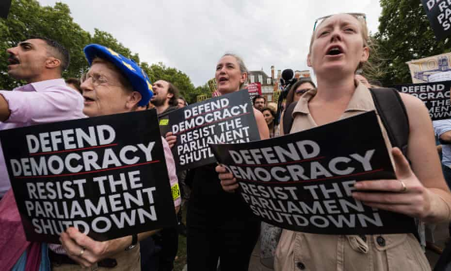 Demonstrators in Westminster protesting against the prorogation of parliament