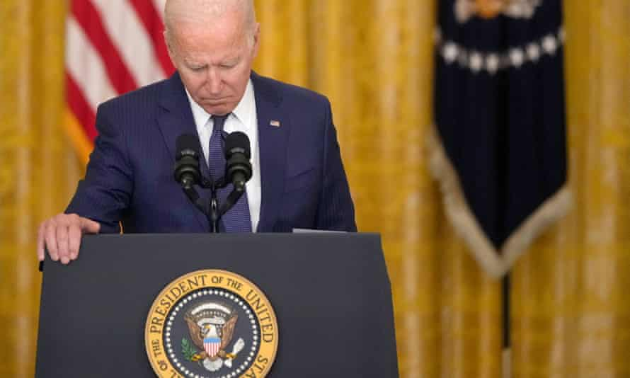 Joe Biden speaks about the situation in Kabul from the East Room of the White House on Thursday.