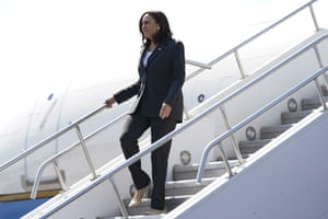 Kamala Harris exits Air Force Two, Friday, June 18, 2021, on arrival to Atlanta.