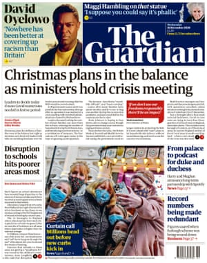 Guardian front page, Wednesday 16 December 2020
