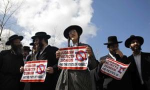 Haredi Jews protesting in Jerusalem in 2015