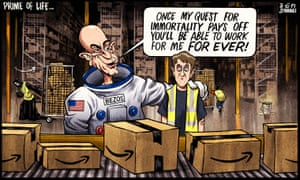 Ben Jennings cartoon, 13/9/21: Jeff Bezos promises Amazon warehouse worker he can work for him for ever