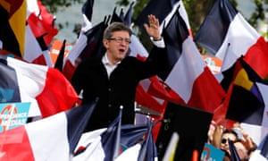 Far-left presidential candidate Jean-Luc Melenchon at a political rally in Toulouse last weekend