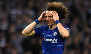 Chelsea's David Luiz reacts after failing to score