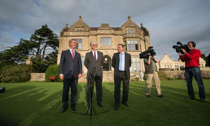 Nigel Farage and then Ukip party chairman Steve Crowther with their new donor, Arron Banks, in Bristol, 2014.