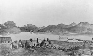 Ihumātao mission station opposite Manukau Heads, 1855, from Auckland Libraries' heritage collections.