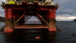 Greenpeace activists near the oil rig