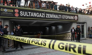 Police officers block the road after a vehicle belonging to Saudi consulate in Istanbul was found at a car park area in the Sultangazi district.