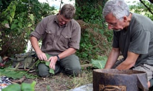 Gordon Hillman, right, with Ray Mears in BBC2's Wild Food, 2007.