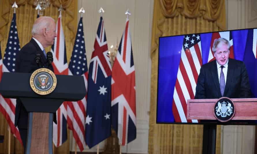 Joe Biden is joined by Boris Johnson for Wednesday's announcement.