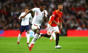 Marcus Rashford chases the ball – he was bright for England but should have scored a hat-trick rather than one.