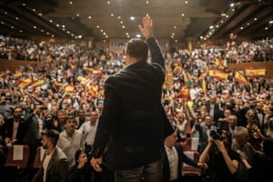Granada, Spain. The leader of the VOX party Santiago Abascal waves to supporters at a rally in the Palacios de Congresos. Spaniards will vote on April 28 in a general election to elect members to Parliament and the Senate.