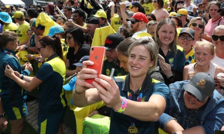 Ellyse Perry at a celebration for Australia's victory in the Women's T20 World Cup at Federation Square in Melbourne