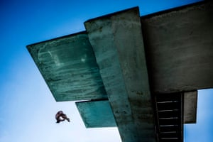 The Brazilian diver Jucelino Junior dives from the 10-metre platform during a training session before the Red Bull Cliff Diving World Series in Havana, Cuba, in 2014
