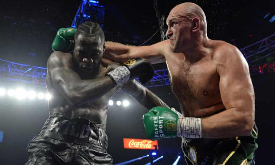 Tyson Fury takes the fight to Deontay Wilder in their second meeting in Las Vegas in February 2020