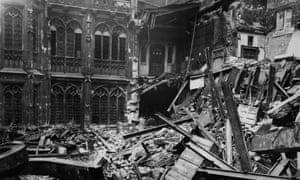 The interior of the Houses of Parliament after a bombing raid, circa 1941.