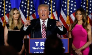 Donald Trump speaks at a campaign event earlier this year as in daughter, Ivanka, and his wife, Melania, continue to support the foul-mouthed nominee.