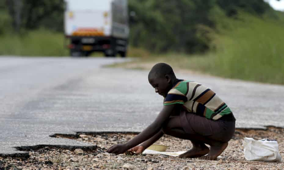 A man gathers grain spilled by cargo trucks from Zambia along a highway in Magunje, Zimbabwe.