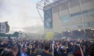 Leeds United fans celebrated their club's promotion to the Premier League